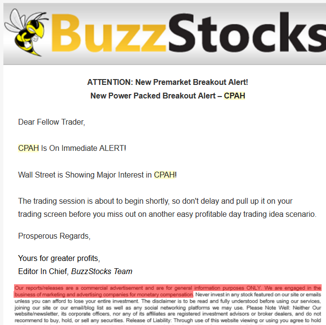 CPAH Buzzstocks promotion short report