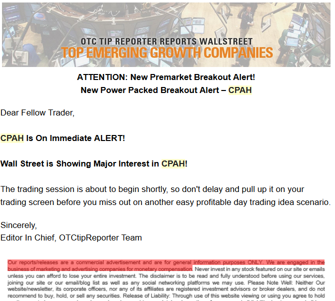 CPAH otc tip reporter promotion short report