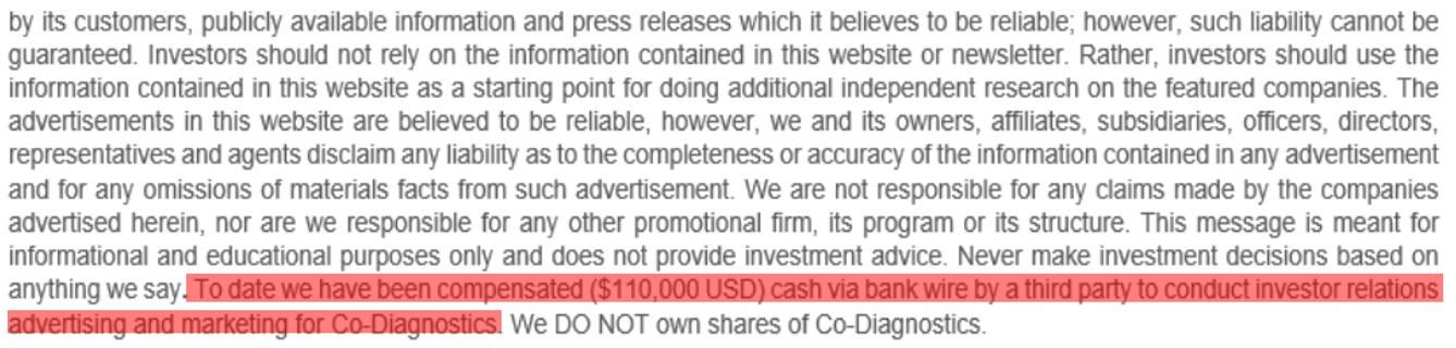 Sabby Management CODX disclaimer