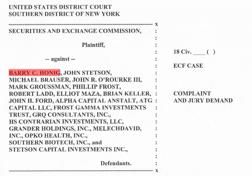 U.S Gold Corp. Barry Honig SEC lawsuit