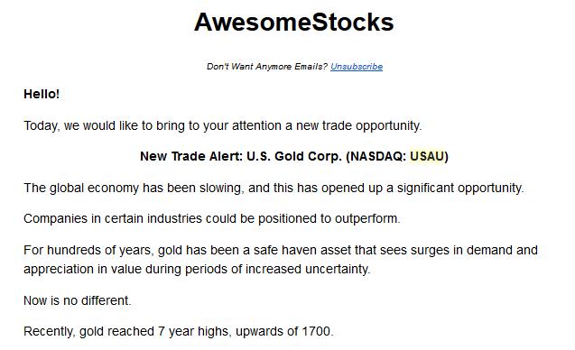 U.S. Gold Corp USAU paid promotion pump